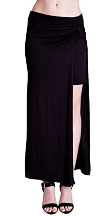 Black Ladies Side-Slit Mini Skirt Lined Maxi Skirt at Amazon ...